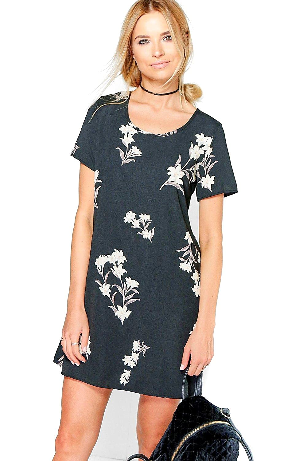 Black Womens Hermia Floral Cap Sleeved Shift Dress - 14