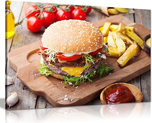 Amazon Com Hamburger Chips On Wood Table Restaurant Food Canvas Wall Art Picture Print 24x16in Posters Prints