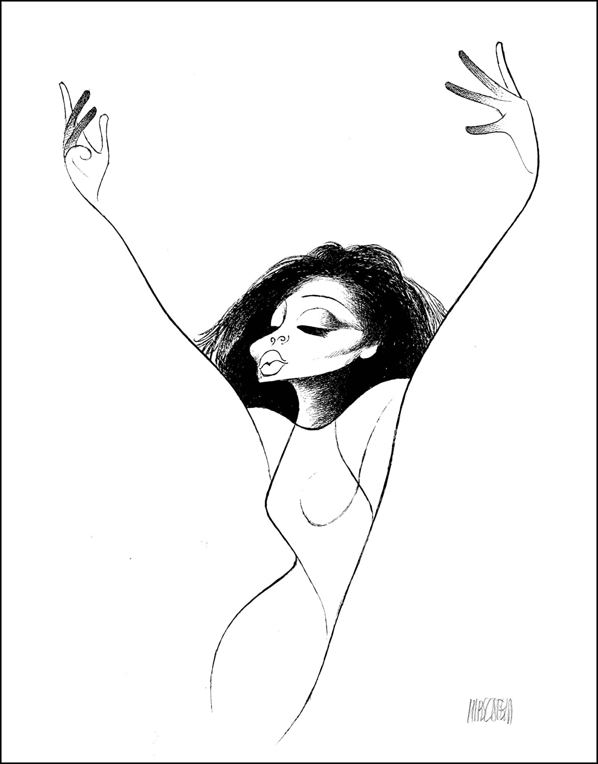 Hand Signed AL HIRSCHFELD, DIANA ROSS , Limited-Edition Lithograph THE MARGO FEIDEN GALLERIES LTD. New York