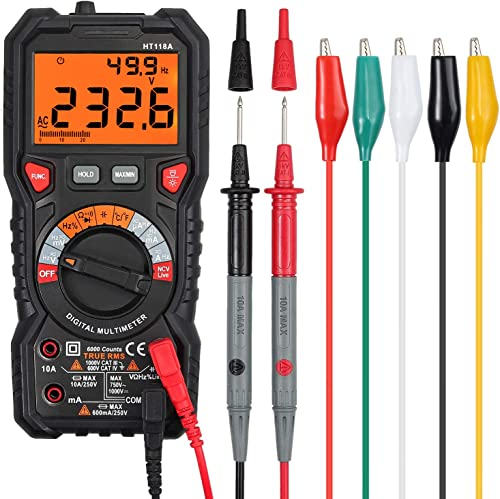 Proster Digital Multimeter 6000 Count TRMS Multimeter AC DC Voltage Current NCV Temperature Resistance Diode Continuity with 5 Colors Multimeter Leads
