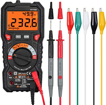 Proster Clamp Meter 2000 Counts Digital Multimeter TRMS 600A AC Current AC//DC Voltage NCV Continuity Resistance Frequency Temperature Diode Hz Test