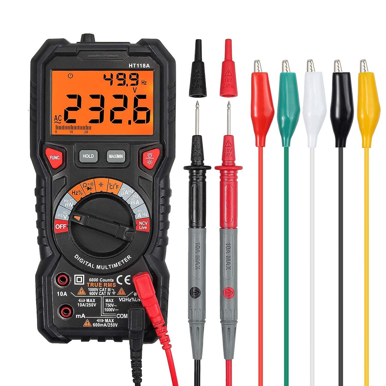 Multímetro Digital 6000 Cuentas TRMS Polimetro Rango Auto/Manual