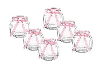 Amazon De Casa Vetro 12 X Kleine Deko Vase Schleife Weiss Oder Rosa