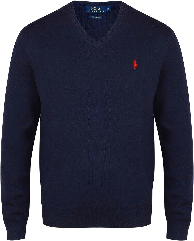Ralph Lauren Suéter de algodón con Cuello en V de Pima para Hombre