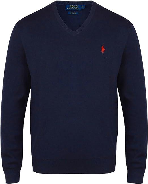 TALLA S. Ralph Lauren Suéter de algodón con Cuello en V de Pima para Hombre