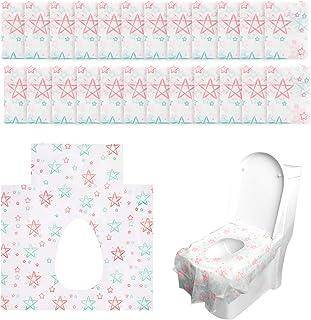 Phogary Jetable WC Couvertures, Lot de 24 Housses de Siãge de Toilettes Jetables pour Enfants ou Toilettes Publiques (60x64 cm, Style Étoile)