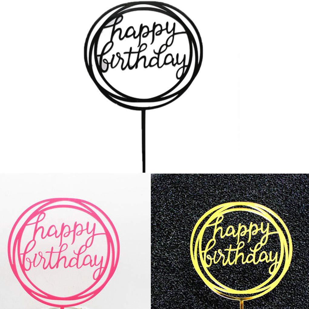 shangjunol Ronde Joyeux Anniversaire Lettre de Gateau Acrylique Bricolage Petit Gateau Gateau Smash Bougie /¨/¤ la Main Party Baton
