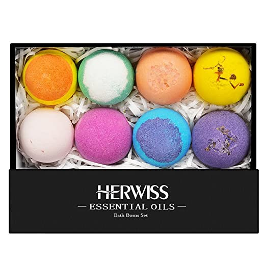 Herwiss Aromatherapy Bath Bombs Gift Set, Natural Ingredients, Rich Bubbles, Aromatic Scents, Essential Oils to Moisturize the Skin and Eliminate Stress, Perfect Birthday Gifts for Women, Pack of 8