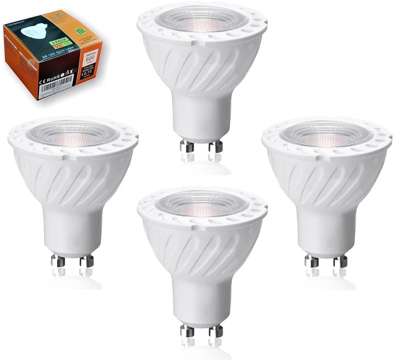 3 Years Warranty 50W Halogen Bulbs Equivalent Ra80 40deg Beam Angle PEPLUX 6W LED GU10 Bulbs 600lumen Pack of 4 Units High Efficiency 100Lumen//W