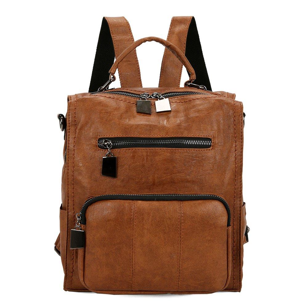 Mynos Women Backpack Purse Leather Handbag Bag Ladies Rucksack Travel Tote Shoulder Bag BGWB-A1US1004-Brown