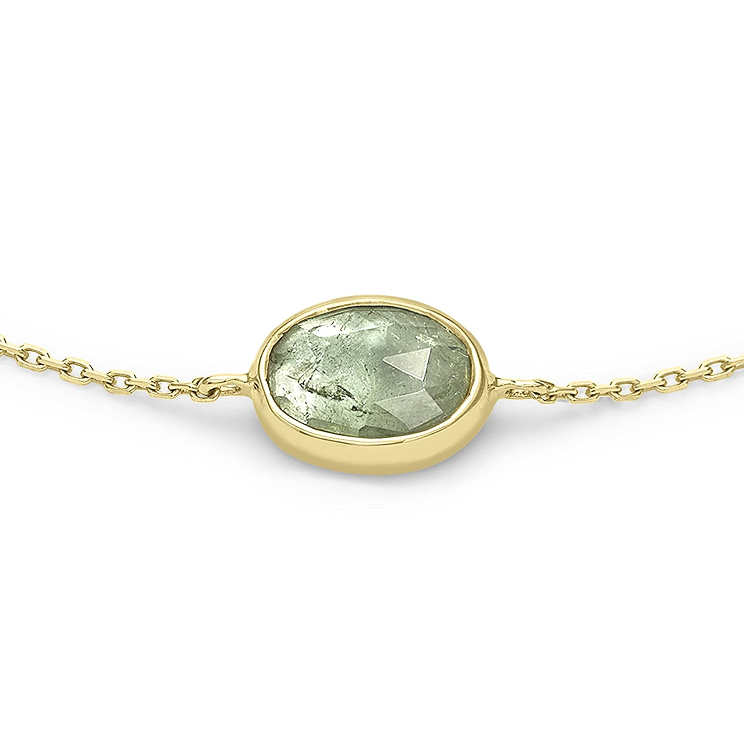 Celine d'Aoust Women's 14ct Yellow Gold Oval Green Tourmaline Collet Back Covered Maya Chain Bracelet hWWGyD0Vp