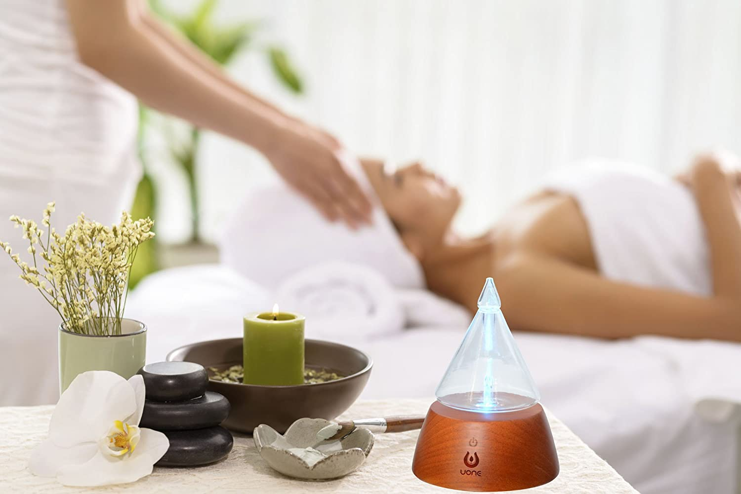UONE Essential Oil Diffuser for Aroma Nebulizing, Waterless Aromatherapy Nebulizer - with Touch Button, Timer and 7 Color Changing LED lights, No Heat, No Water, No Plastic - Handmade Wood and Glass. : Beauty