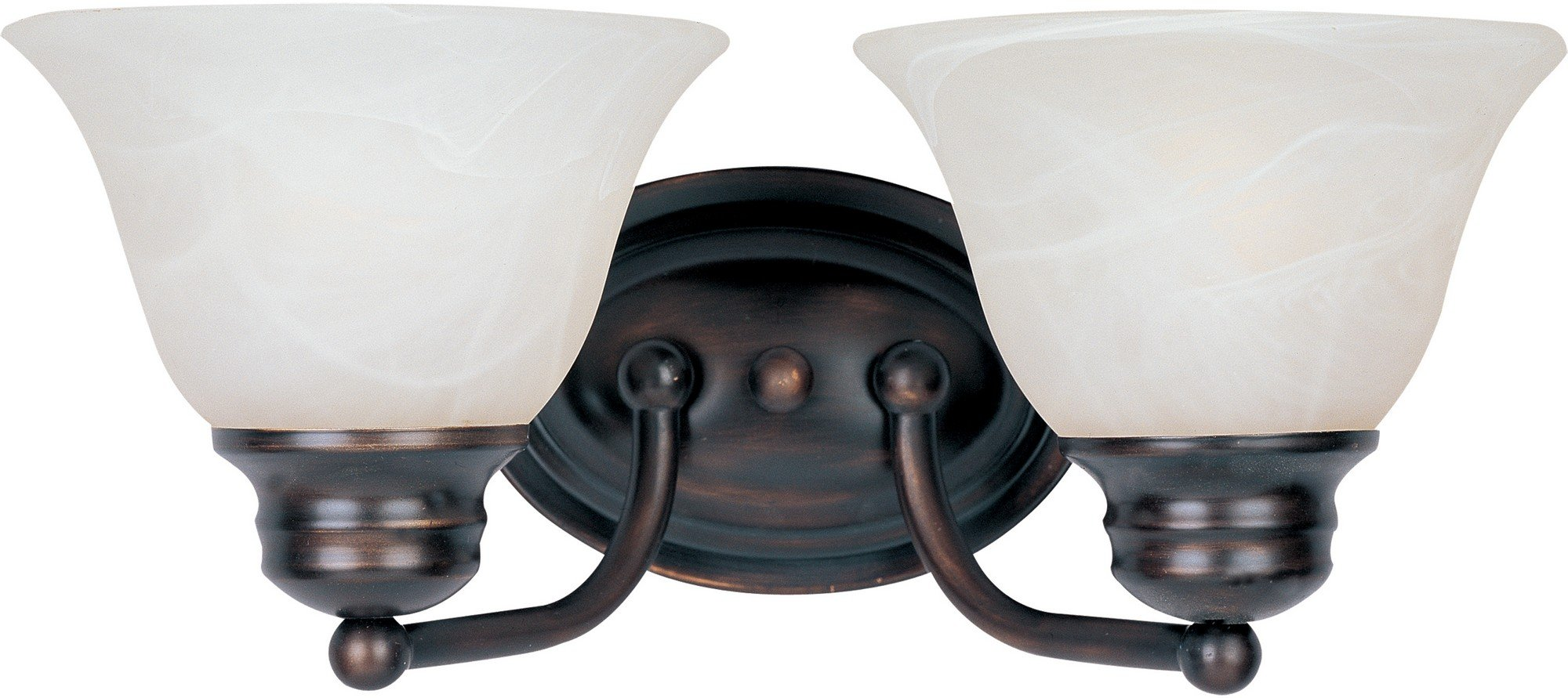 Maxim 2687MROI Malaga 2-Light Bath Vanity Wall Sconce, Oil Rubbed Bronze Finish, Marble Glass, MB Incandescent Incandescent Bulb , 60W Max., Damp Safety Rating, Standard Dimmable, Hemp String Shade Material, Rated Lumens