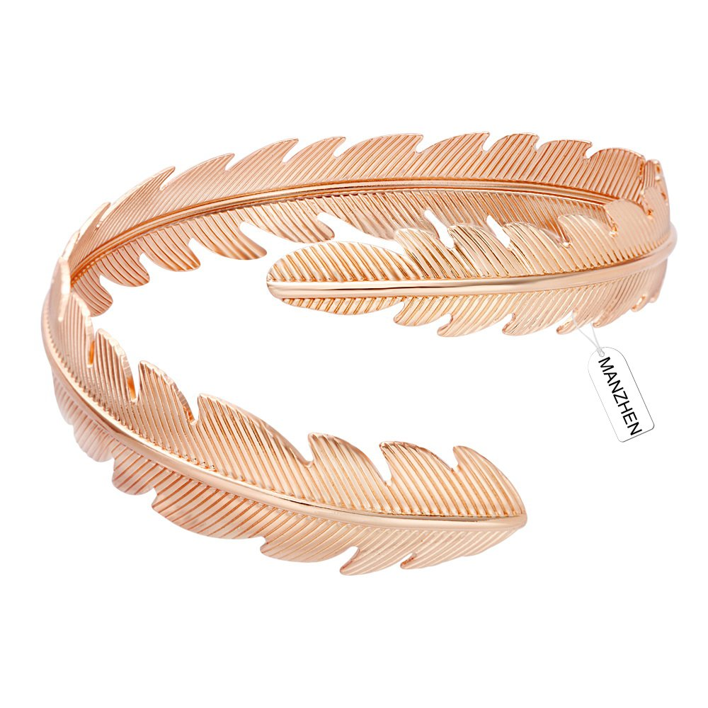MANZHEN Gold Plated Adjustable Swire Feather Upper Arm Bangle Cuff Bracelet Armband Armlet Bracelets (Rose Gold)