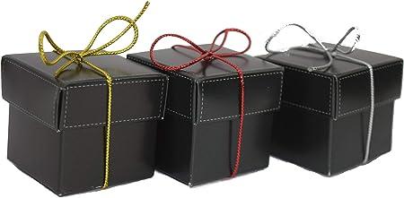 Juego de 10 cajas de regalo 2 x 2 x 2 con tapas para recuerdos de fiesta y pequeños regalos, incluye 3 opciones de color de cuerda (oro, plata, rojo) para cada caja: Amazon.es: Hogar