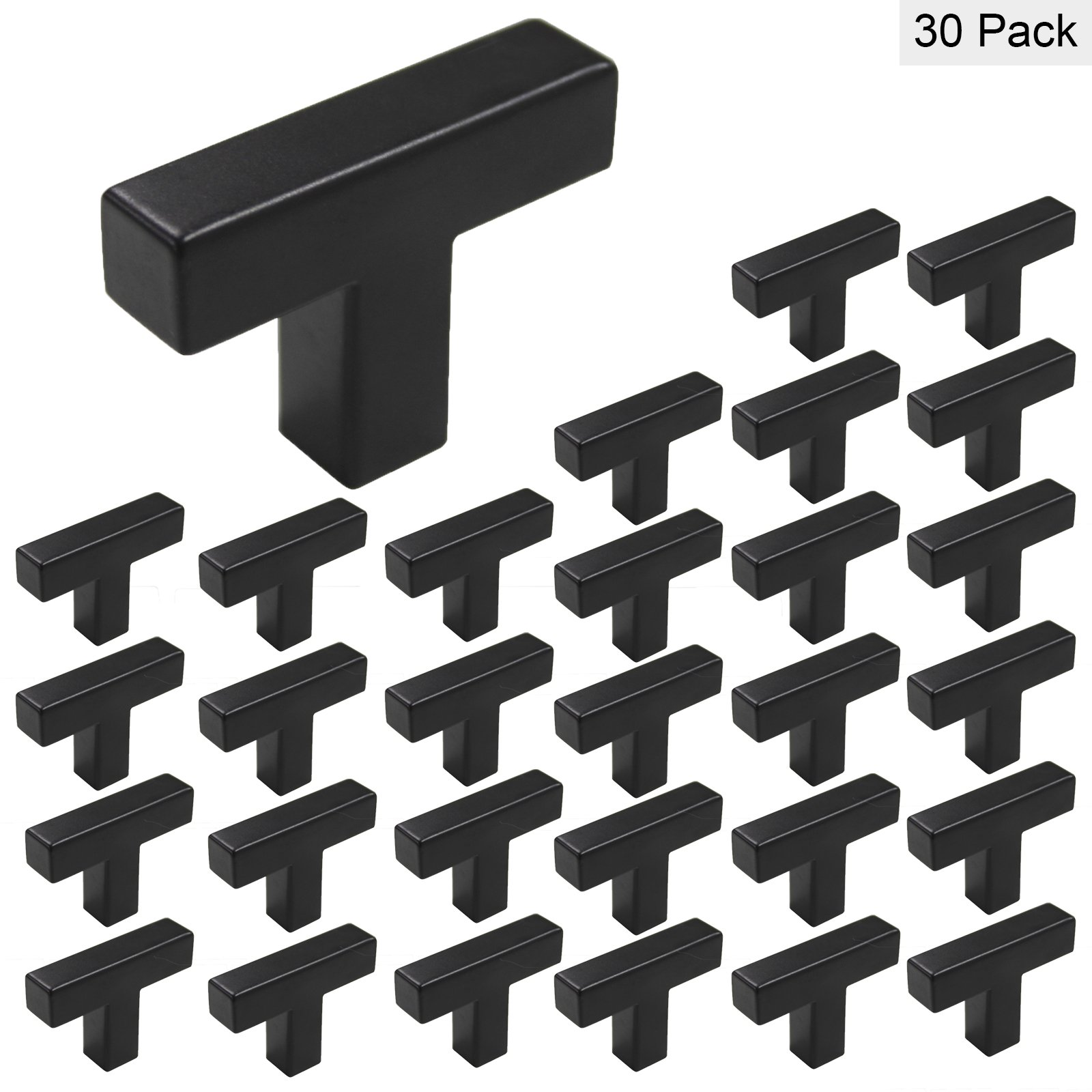 Flat Black Cabinets Knobs Handles Stainless Steel Square Single Hole T Knob - Homidy HDJ12 Drawer Pulls For Kitchen Cupboard Bathroom Storage 30Pack