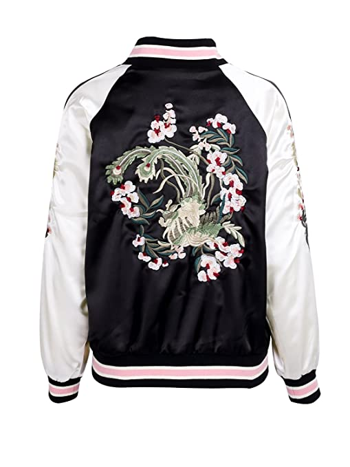 Amazon.com: Simplee Womens Casual Floral Embroidery Reversible Satin Bomber Jacket: Clothing