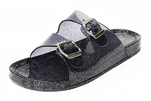 474df1b17d8e6 H2K 'Jelly-K' Women's Glitter Jelly [Slide Sandal] Slip-On Flat Sandals  Slippers with Adjustable Straps