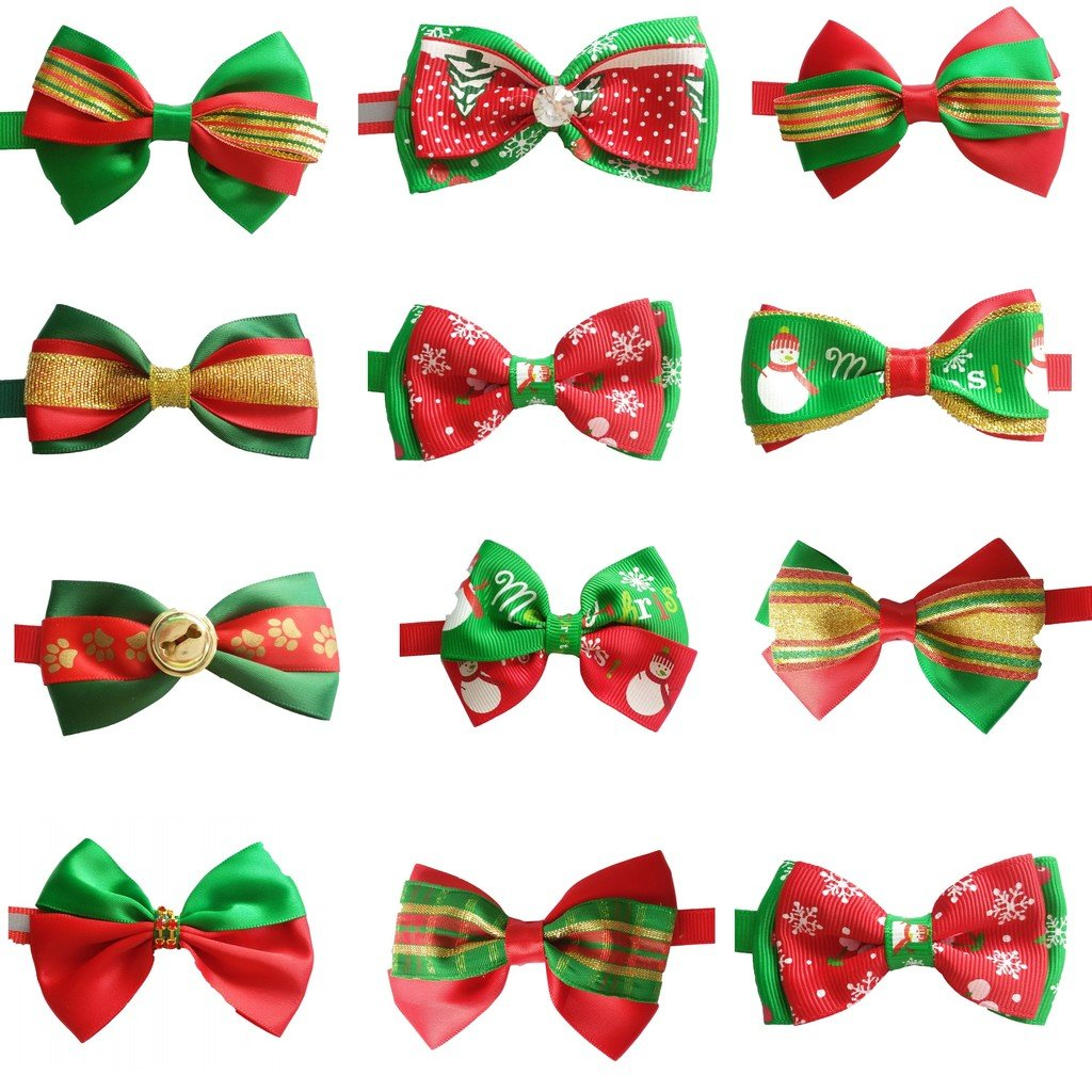 PET SHOW Christmas Lot Puppy Small Dog Bow Ties Pet Cat Bowties Collar for Christmas Party Grooming Accessories Pack of 100