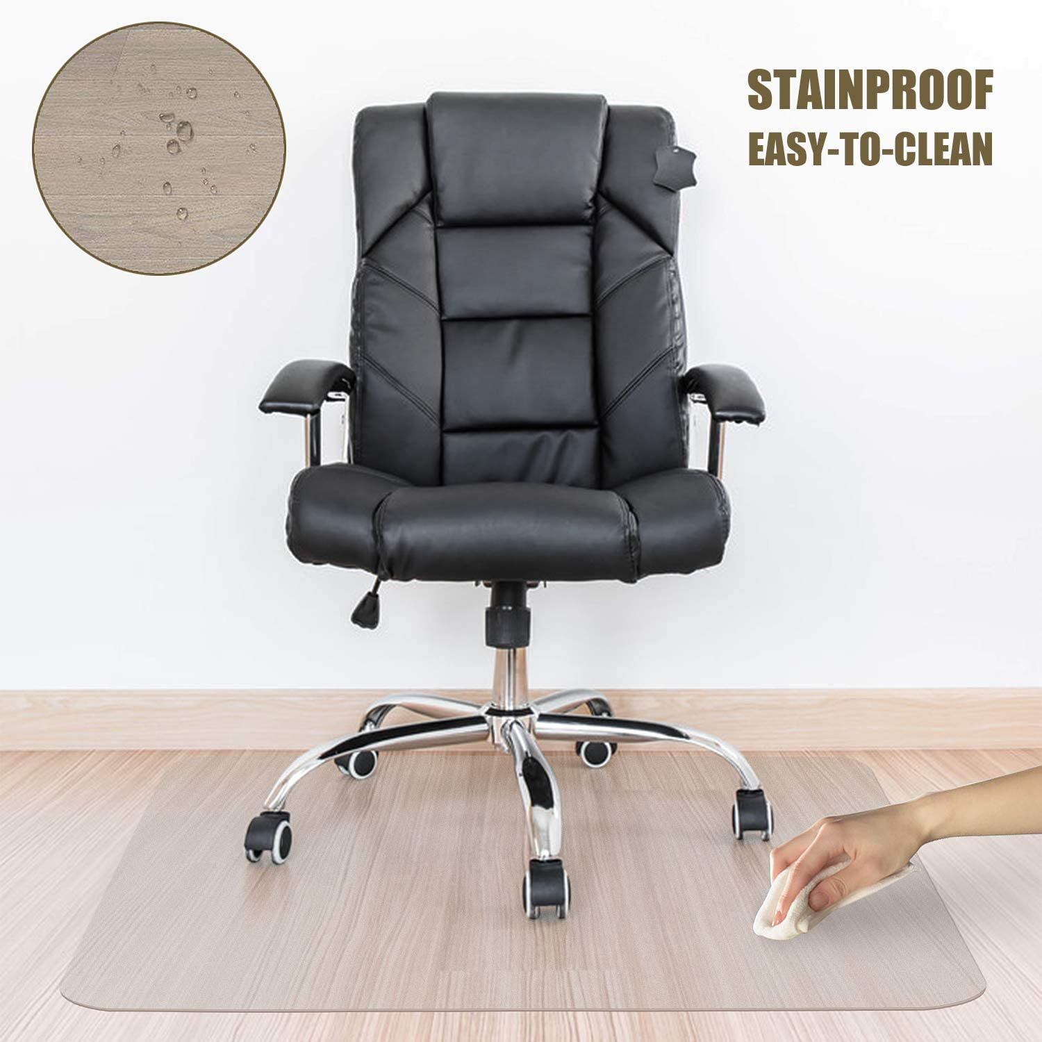 """Kuyal Clear Chair Mat, 2MM Thick Hard Floor Use, Transparent Office Home Floor Protector mat Chairmats (48"""" X 59"""" Rectangle)"""
