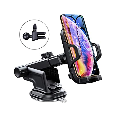 Car Phone Mount,Kumako 360-Degree Rotation Cell Phone Holder for Car with One Button Design and Anti-Skid Base Car Cradle Compatible with iPhone X/8 Plus/ 8/7 Plus/ 7、Galaxy S8 and More