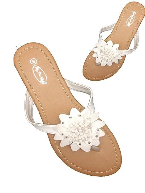 Amazon womens flip flops flats sandals flower rhinestone womens flip flops flats sandals flower rhinestone summer beach flat shoes by mps 8 mightylinksfo