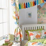 """Riva Paoletti Kids Dinosaur Pencil Pleat Curtains (Pair) - Green and White - Matching Tiebacks - Machine Washable - 168cm width x 183cm drop (66"""" x 72"""" inches) - Designed in the UK"""