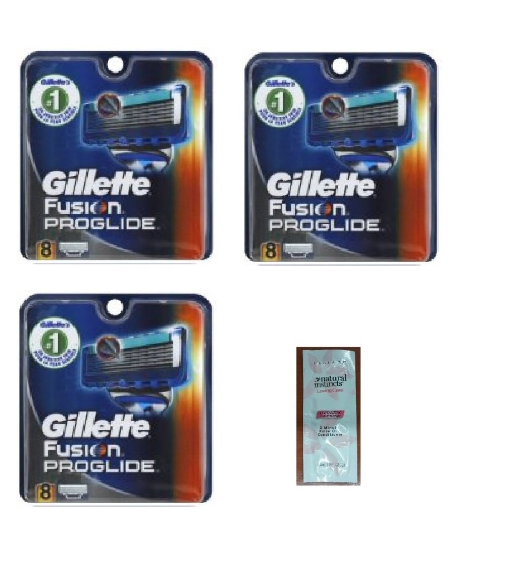 Fusion Pro-glide Refill Cartridge Blades, 24 count , (3 pack of 8) Made In Germany w/ Free Loving Care Trial Size Conditioner