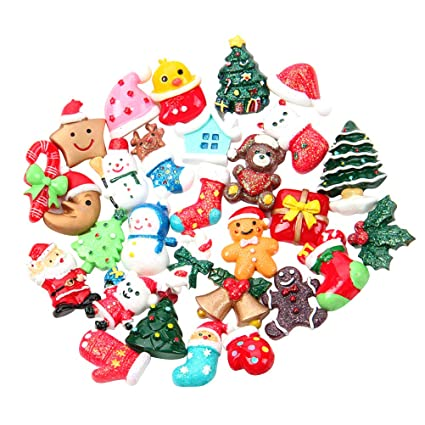 Resin Christmas Ornaments.Amazon Com Stobok 50pcs Flatback Resin Christmas