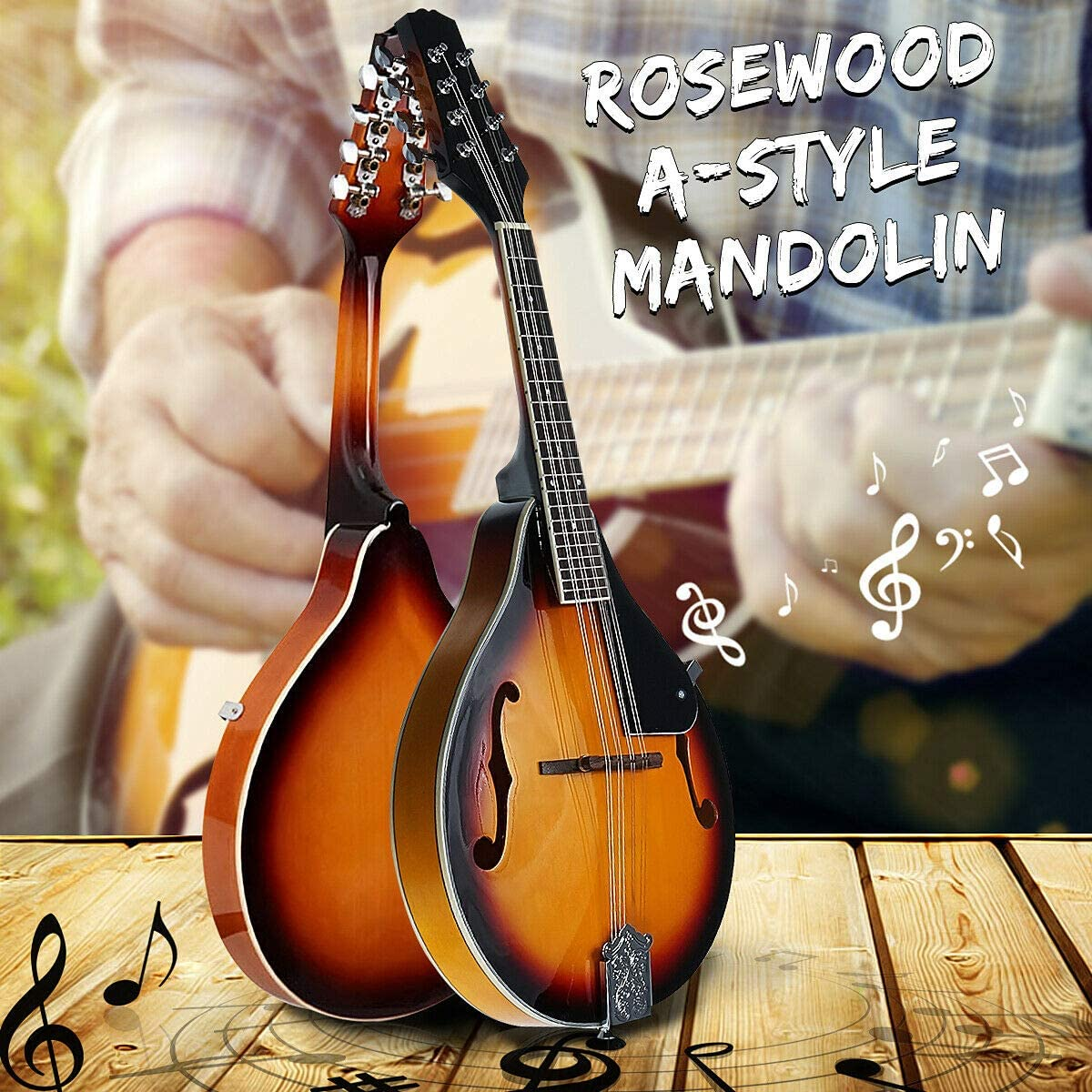 Classic A-Style 8 String Acoustic Elegant Mandolin with Guard Board Musical Instrument Sunset