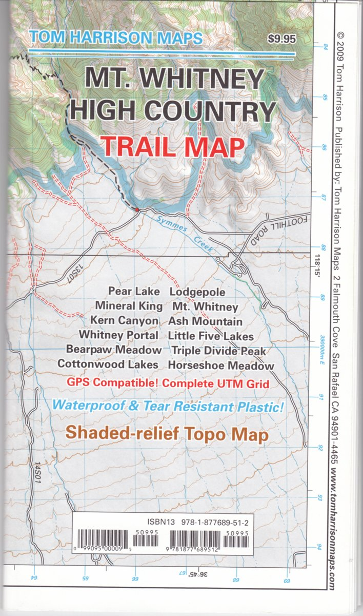 mt whitney high countrytrail map (tom harrison maps) tom harrison amazoncom books. mt whitney high countrytrail map (tom harrison maps) tom