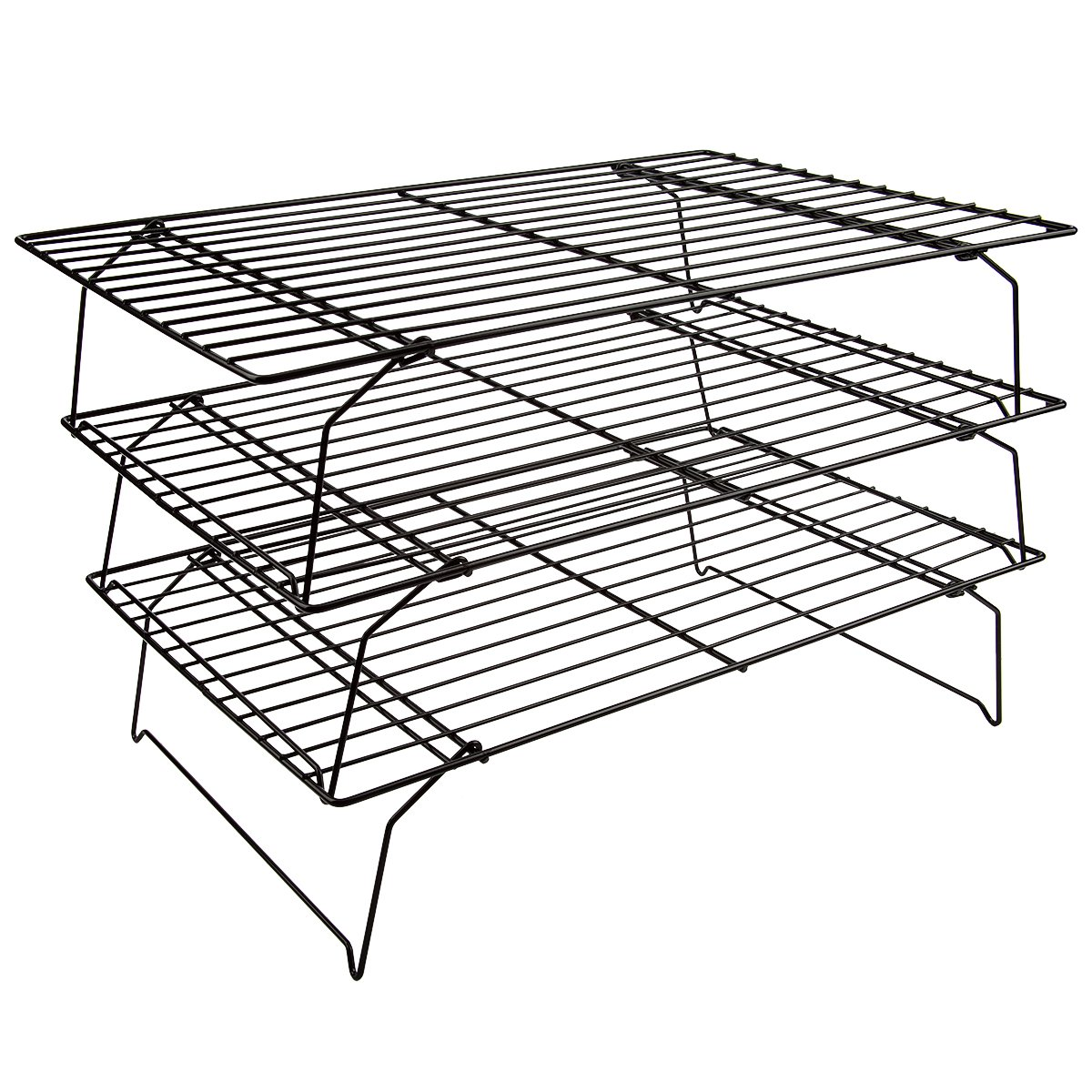Flytt Stackable 3-Tier Cooling Rack Grid , Black , 15.7 inch x 9.8 inch