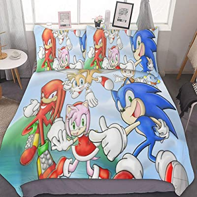 Bedding Duvet Cover Set,FULL/QUEEN (90x90 inch), So-nic The Hedgehog Tails Knuckles Amy,3 Pieces Bedding Set,With Zipper Closure and 2 Pillow Shams, Cute Cartoon bedroom Comforter Sets for Boys Girls: Home & Kitchen