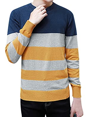 uxcell Men Color Block Long Sleeves Slim Fit Knitted Top Blue M