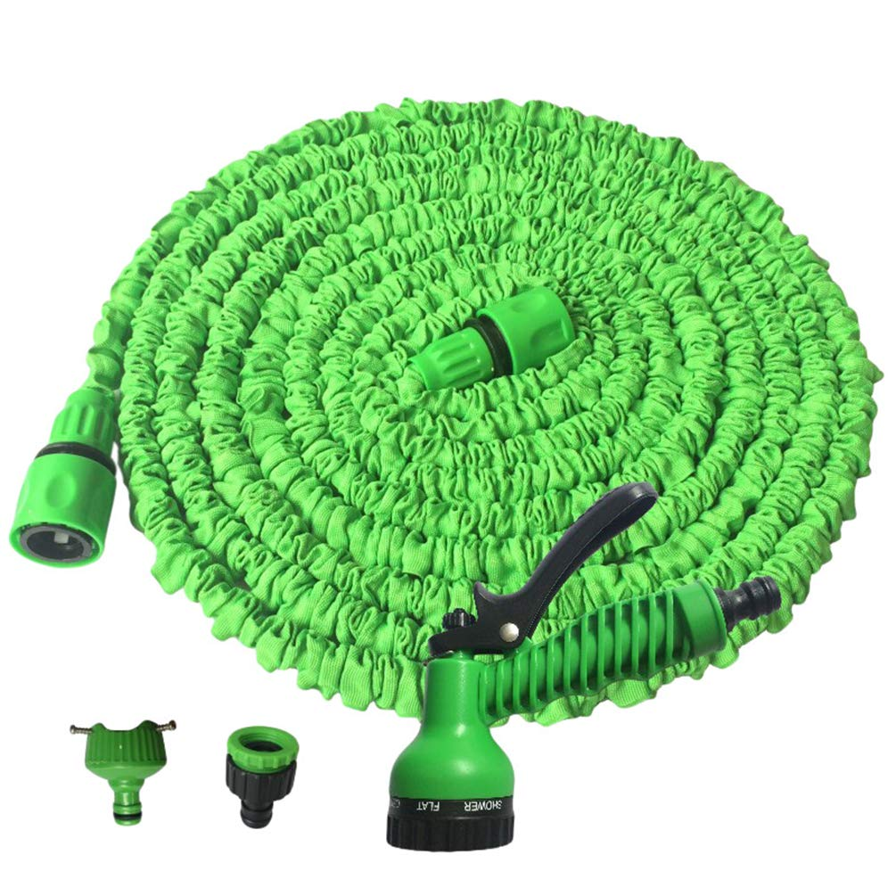 Rengzun 25-150 FT Multifunction Expanding Garden Water Hose Pipe with 7 Patterns Spray Gun Flexible Magic Hose Anti-leakage Lightweight Hosepipe Green