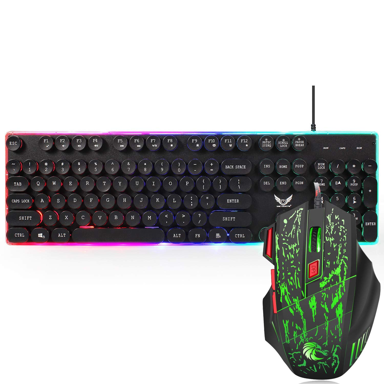 Game Keyboard and Mouse,Sunsee ZERODATE J40 Wired Keyboard Mouse 104 Keys Ergonomic for Typing Games Compatible by SUNSEE ELECTRONICS (Image #6)