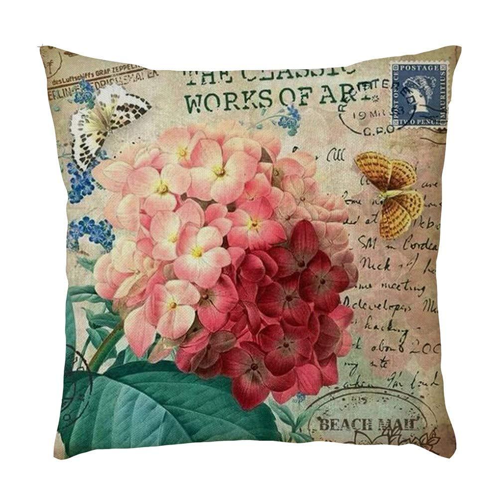 Doingshop Funda de coj/ín Decorativa con dise/ño de Mariposas y Flores para sof/á o Cama de 18 x 18 Pulgadas