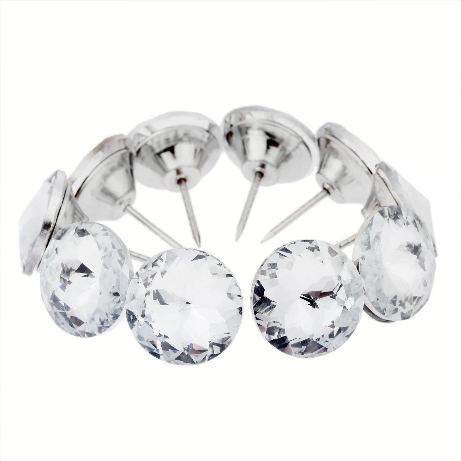 20pcs Diamond Crystal Upholstery Nails Tacks Sofa Headboard Sew Buttons Wall Decor 25mm Dia