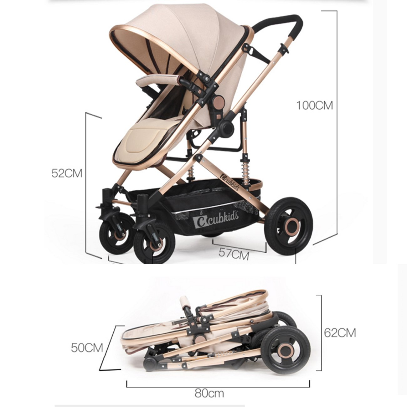 YBL High Landscape Easy to fold Baby Stroller Four Seasons Available Can sit and Lie Down Two-Way Implementation Choice of City Four Rounds Baby car Strong Bearing Capacity