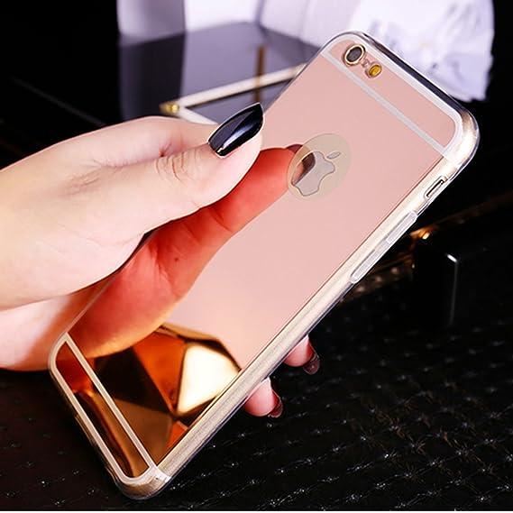 SainCat Silikon Hülle Spiegel Überzug Mirror Effect Soft TPU Case Rose Gold Handyhülle Case Schutzhülle Gel Bumper Weiche Sil