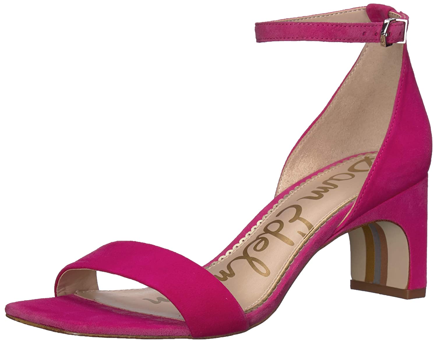 Pink Peony Suede Sam Edelman Womens Holmes Heeled Sandal