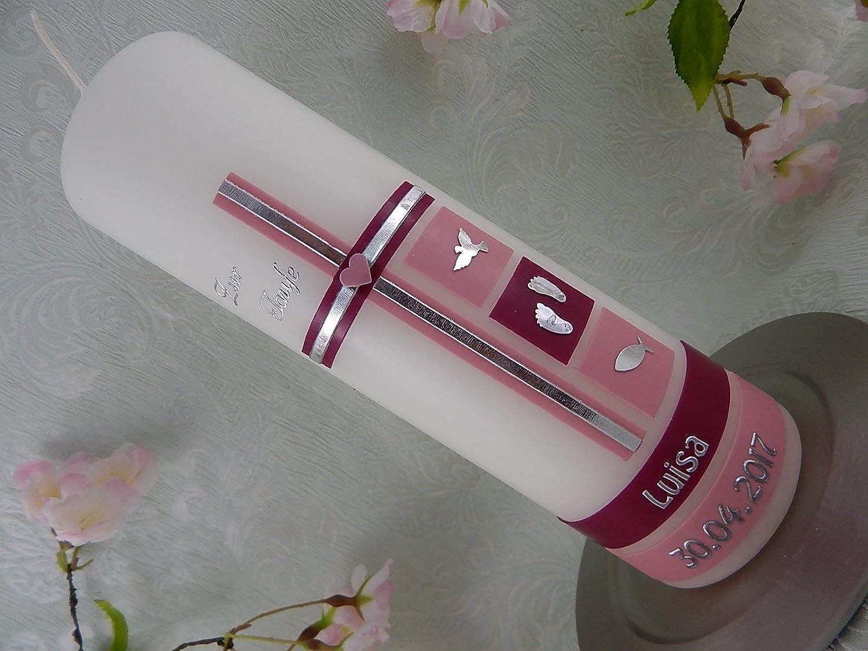Geschnitzte Taufkerze rosa Taufkerzen für Mädchen personalisierbar mit Name
