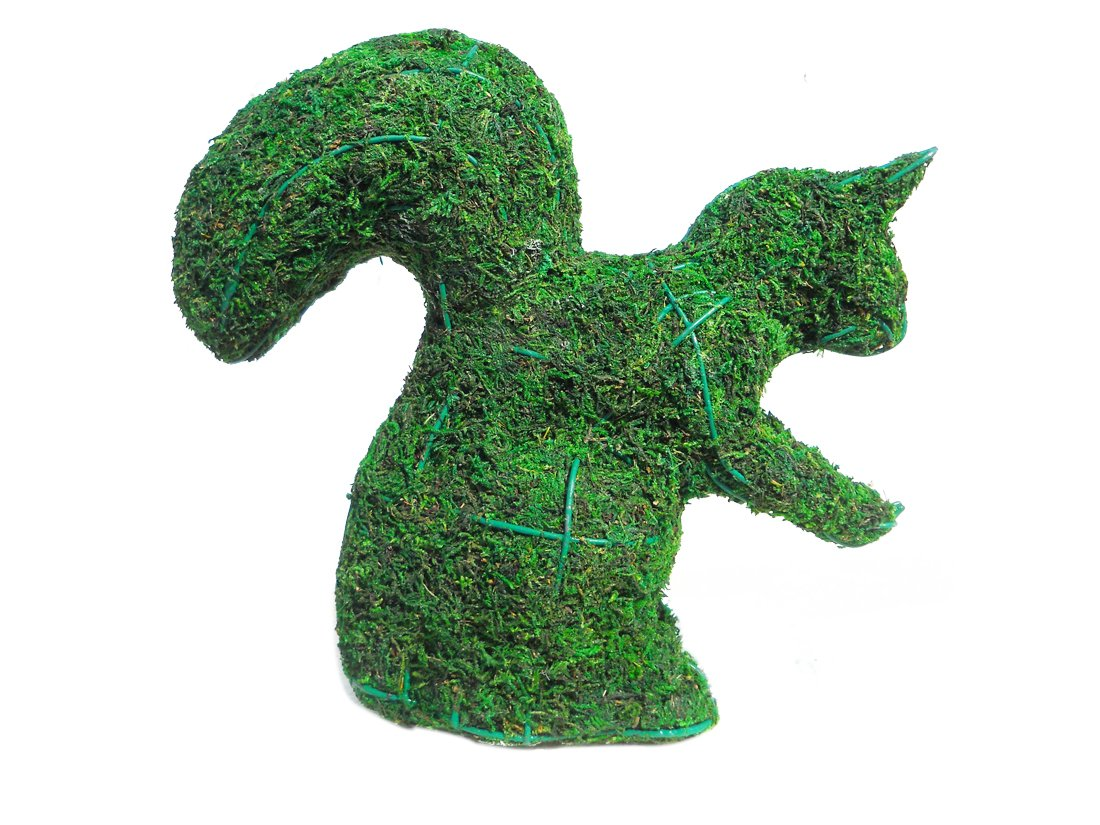 Squirrel 9'' H w/Moss Topiary Frame, Handmade Animal Decoration