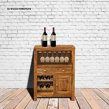 SS WOOD Furniture Sheesham Wood Bar Unit with Storage for A Dapper