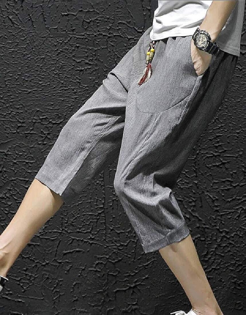 xiaohuoban Mens Casual Pants Drawstring Loose Baggy Linen Capri Harem Pants Shorts