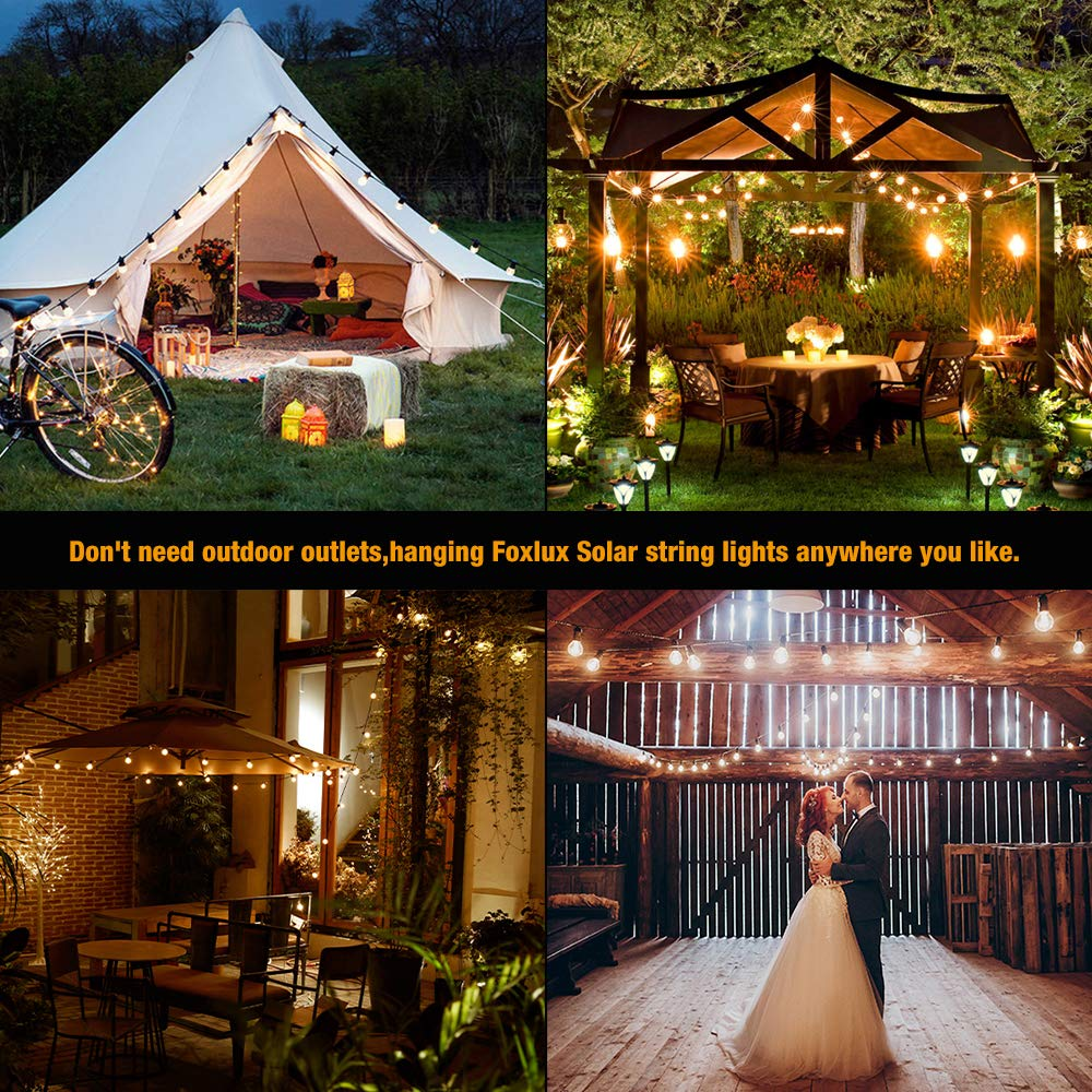 Foxlux Solar String Lights - 48FT LED Outdoor String Light - Shatterproof, Waterproof Pergola Lights - 15 Hanging Sockets, Light Sensor, S14 Edison Bulbs - Ambience for Patio, Backyard, Garden, Bistro by FOXLUX (Image #6)