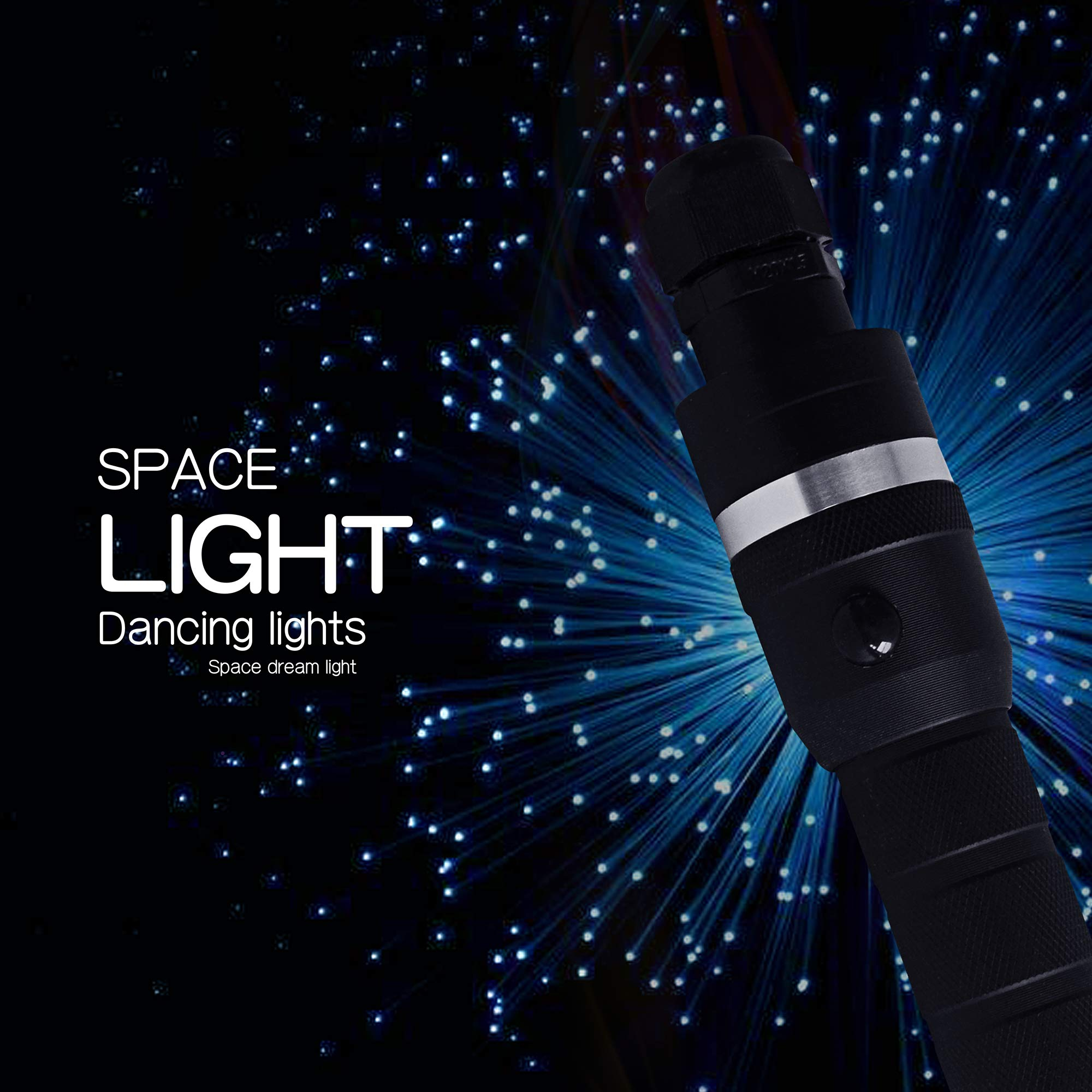 goldgecko Batteries Powered 360 Degree Swivel LED RGB Fiber Optic Light Whip with End Glow Flashing Effect for Dance by goldgecko (Image #2)