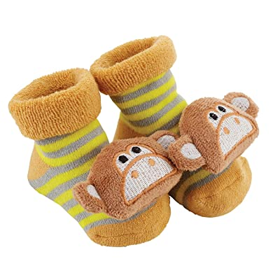 Stephan Baby Rattle Socks Available in 8 Designs, Stripey Yellow and Grey Monkeys, Fits 3-12 Months : Baby
