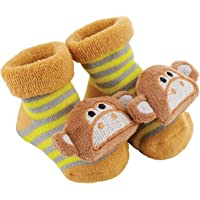 Stephan Baby Rattle Socks Available in 8 Designs, Stripey Yellow and Grey Monkeys, Fits 3-12 Months