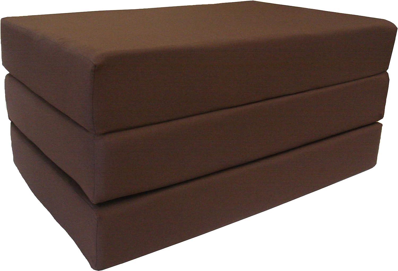 D D Futon Furniture Brown Coffee Twin Size Shikibuton Trifold Foam Beds 6 Thick X 39 w X 75 l Long, 1.8 Lbs High Density Resilient White Foam, Floor Foam Folding Mats.